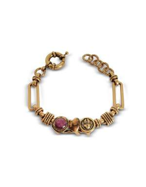 Golden Brass Bracelet w/Gemstone