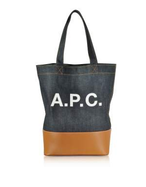 Axelle Denim and Leather Tote Bag