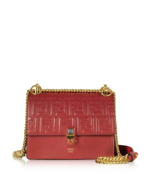 Strawberry Red FF Printed Leather Kan I Small Shoulder Bag