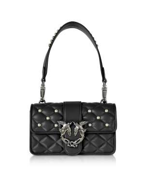 Mini Love Pearls Black Quilted Eco Leather Shoulder Bag