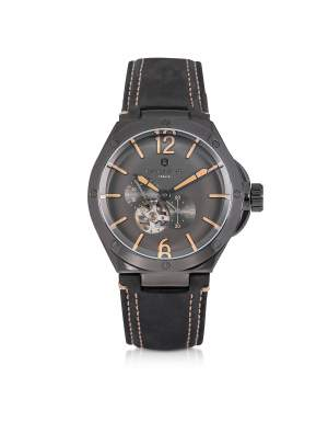 Space Shuttle Meccanico Gunmetal Stainless Steel and Black Nubuck Men's Watch