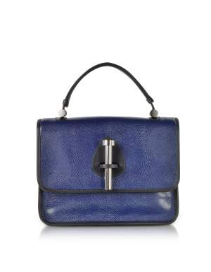 Ocean Blue Lizard Embossed Leather Satchel Bag