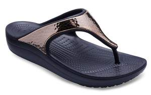 Women's Crocs Sloane Hammered Metallic Flips