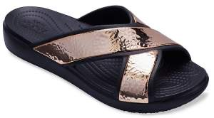 Women's Crocs Sloane Hammered Metallic Cross-Strap Slides